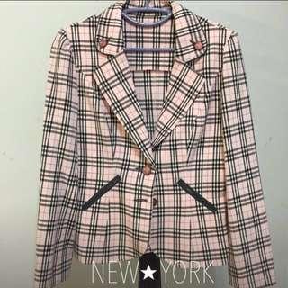 🚚 英倫風格子西裝外套/粉色