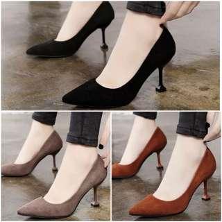 Ladies Suede Leather Pointed Toe Formal Wedding High Heels
