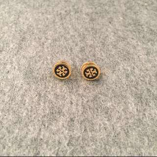 Tory Burch Stud Earrings Black gold 黑色金邊耳環