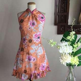 (SALE) Halter-neck Bareback Orange Floral Print Cheongsam