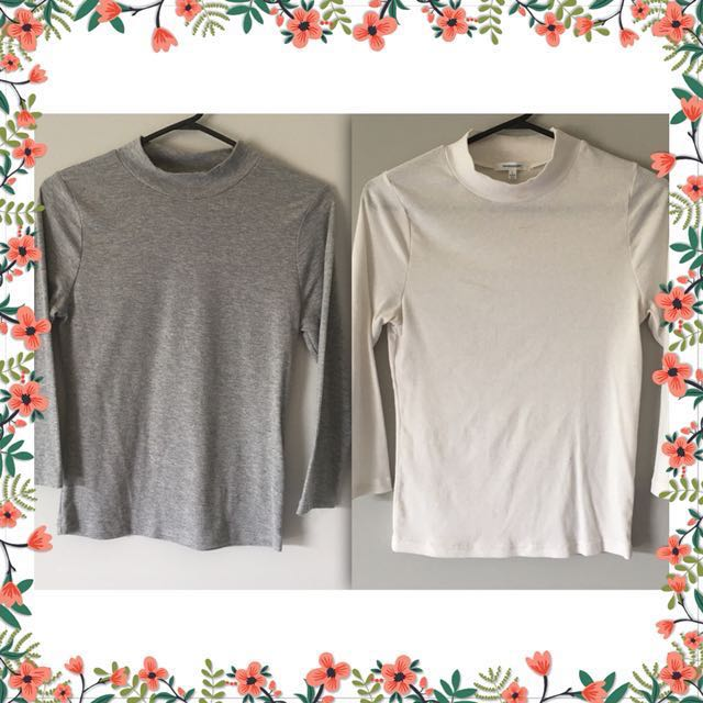 2 Valley Girl Long Sleeve Tops, Grey & White