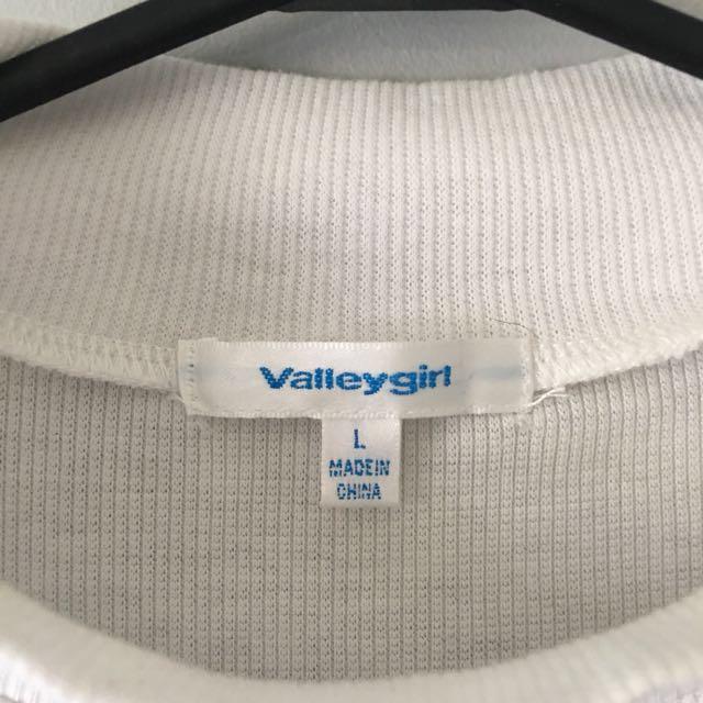2 Valley Girl Long Sleeve Tops, Grey & White