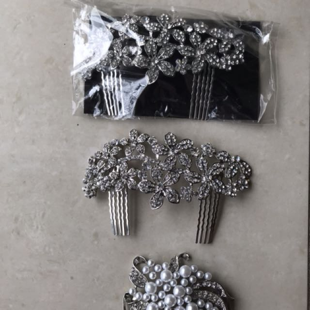 3 diamanté hair clips