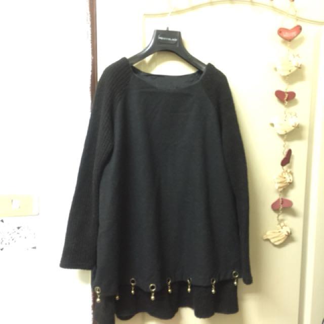 中大碼黑色上衣(下擺設計款