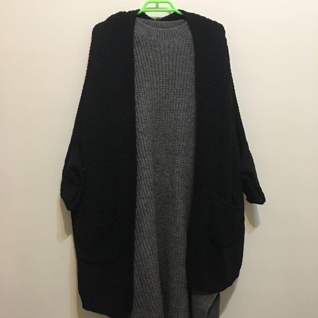 粗針織超長版洋裝