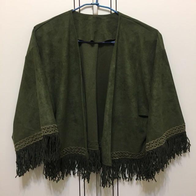 墨綠個性短版外套