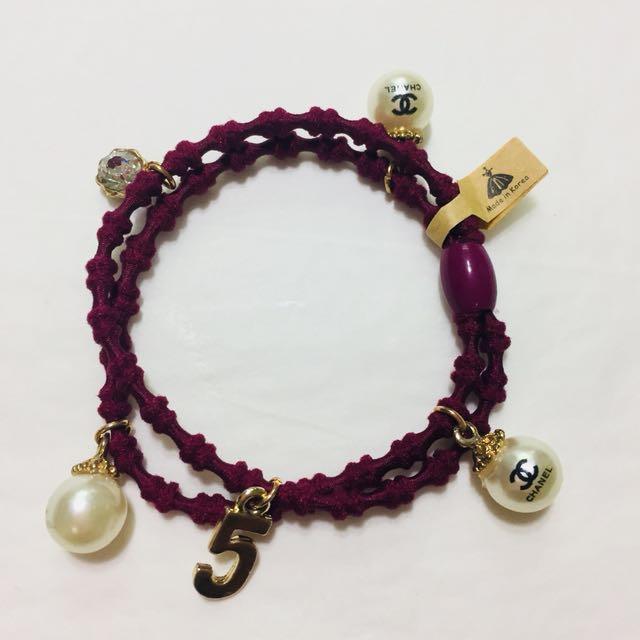 韓國製 珍珠吊飾髮圈