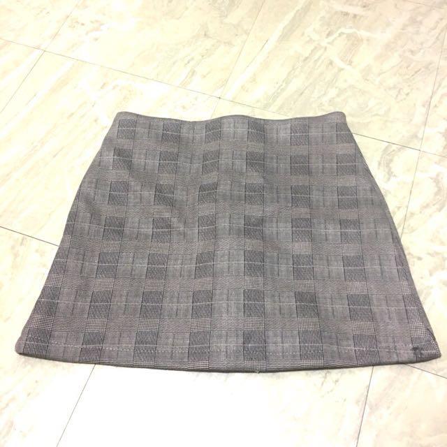 厚格紋 A字褲裙 褲裙 M