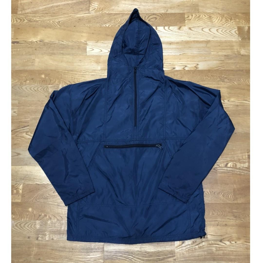美國製 L.L.Bean 套頭式 風衣 大口袋 防潑水 雨衣