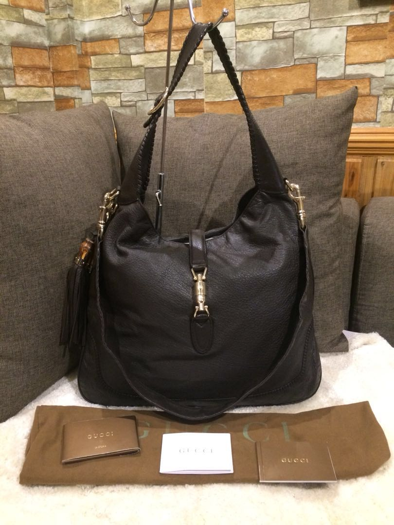 Authentic Gucci Horse bit two way leather hobo with cards and Dustbag