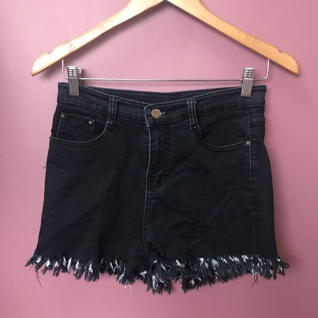 Black Highwaist Denim Shorts