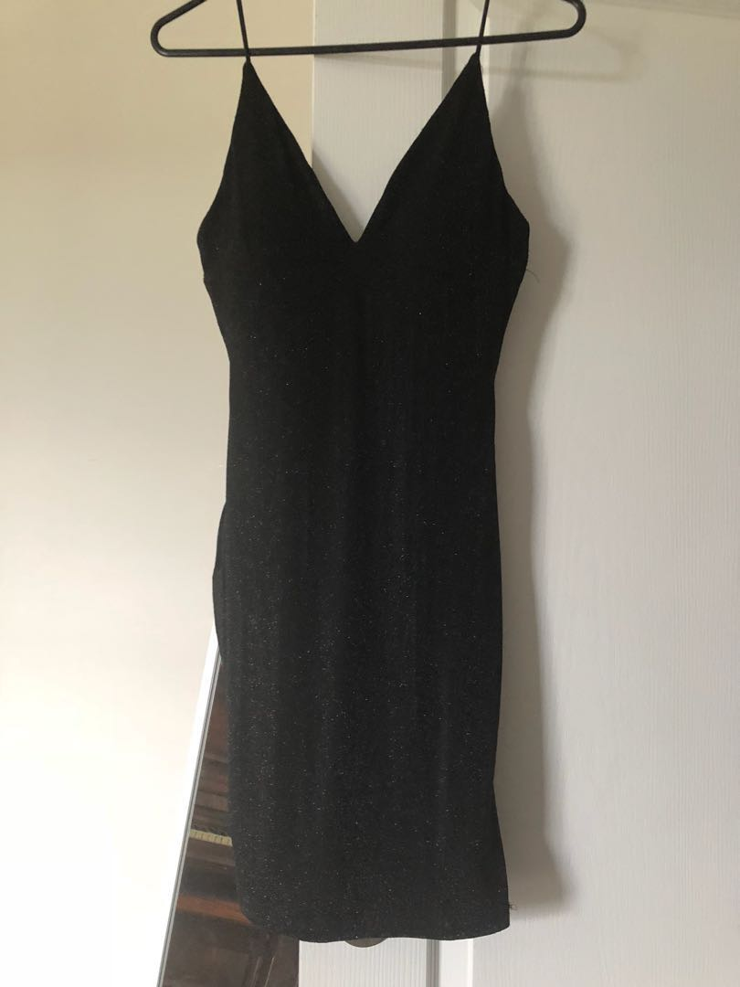 black low cut, glittery, dress/ going out/party,