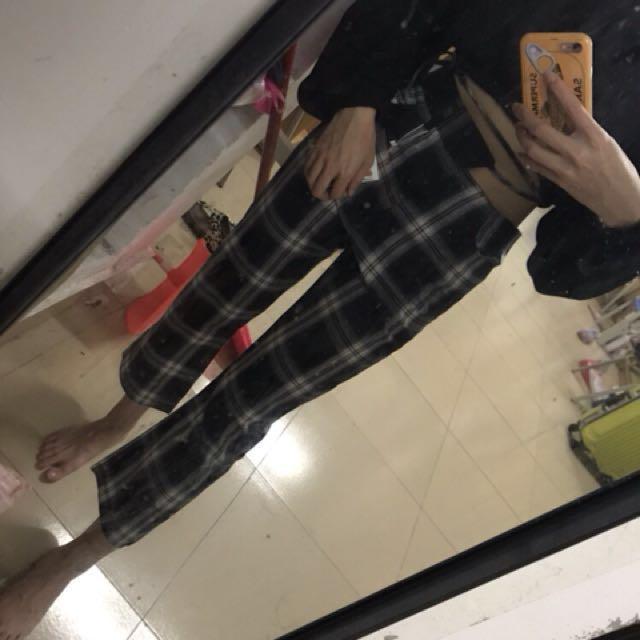 韓國格子側綁帶鏤空九分褲Blackpink同款 Lisa 格子褲