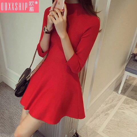 BRAND NEW WITH TAG 3/4 Sleeve Red Dress - Very Stretchable