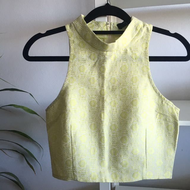 BRAND NEW Yellow High Neck Crop Top