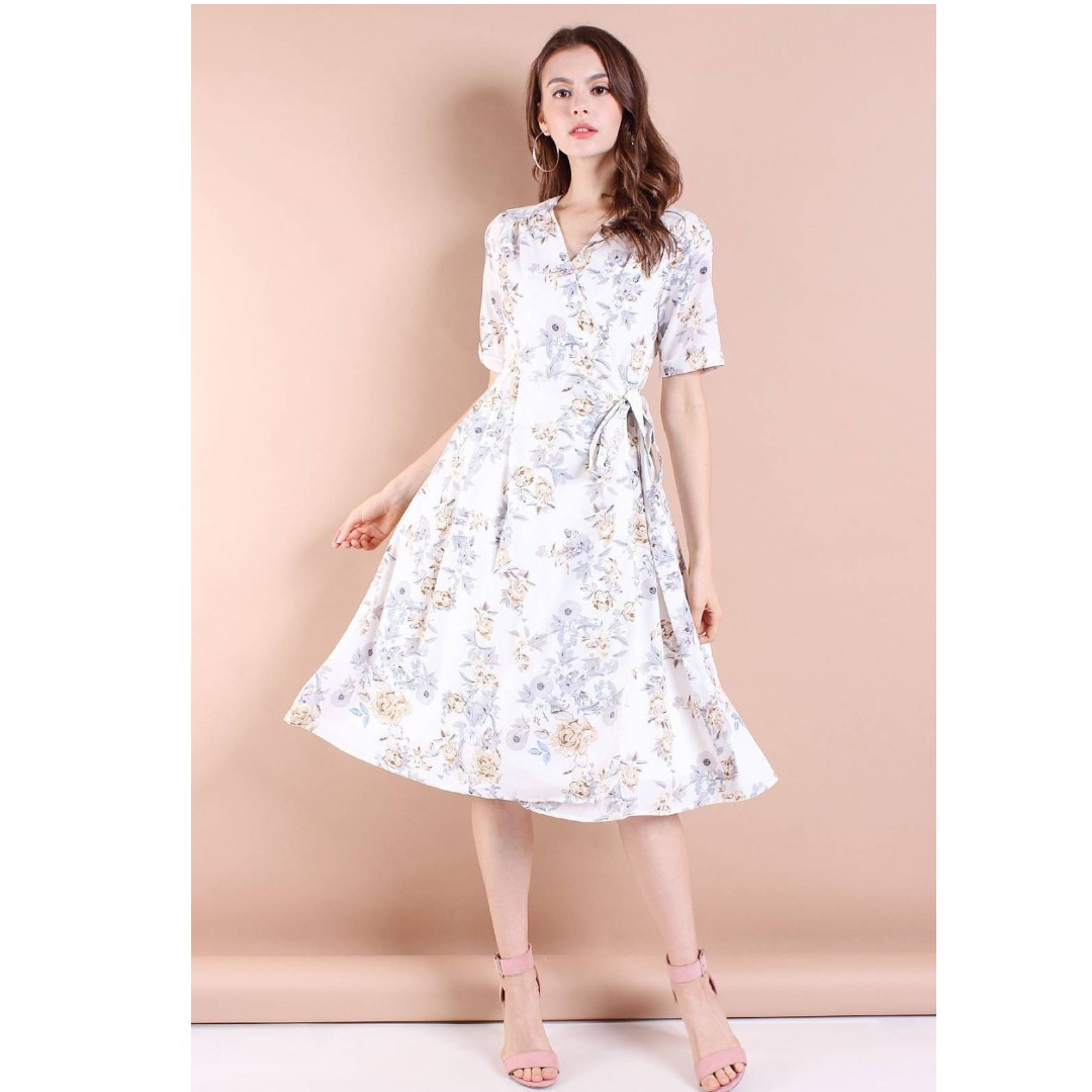 a79a3870a Neonmello - Brooklyn Garden Floral Tie-wrap Midi Dress in White, Women's  Fashion, Clothes, Dresses & Skirts on Carousell