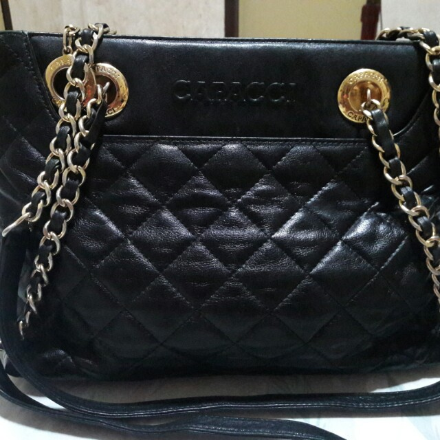 Capacci Genuine Leather Quilted Black Bag