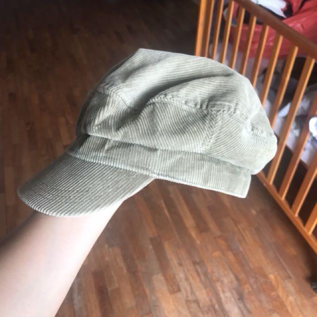 Corduroy olive green cap
