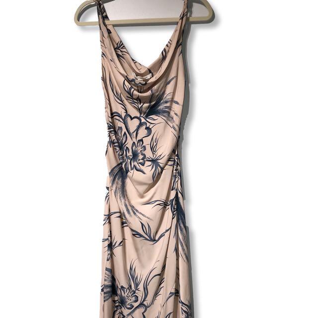 DVF Silk Katinka Draped Neck Midi Dress - Size 10