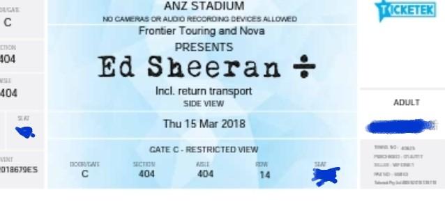Ed Sheeran Tix X 2 15th March 2018