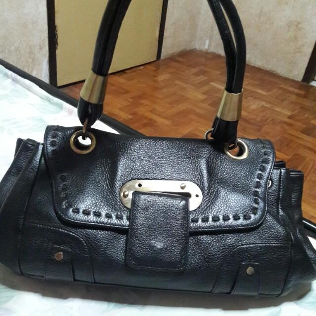 ELCANTO Genuine Leather Black Shoulder Bag