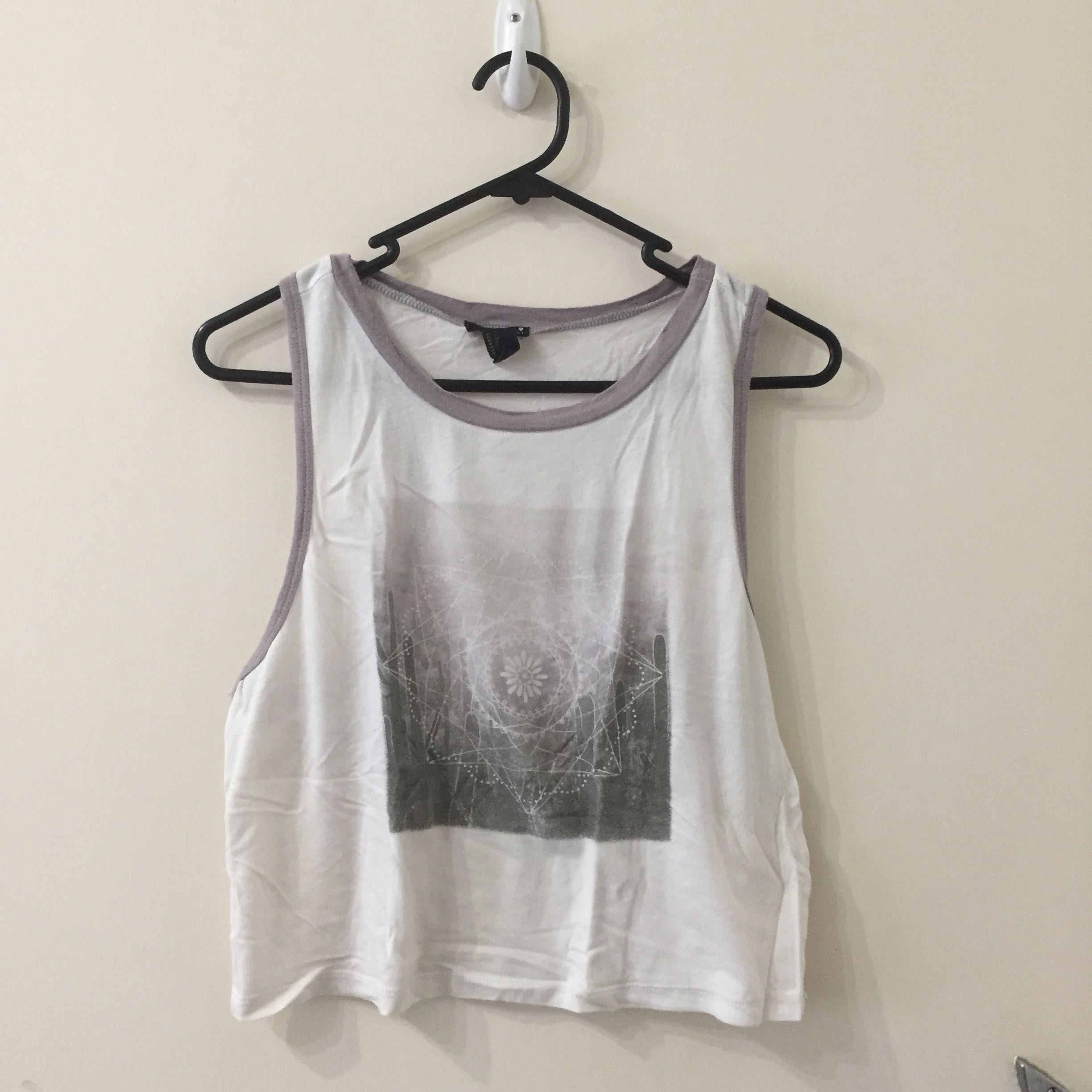 Forever21 Grey and White Crop Singlet