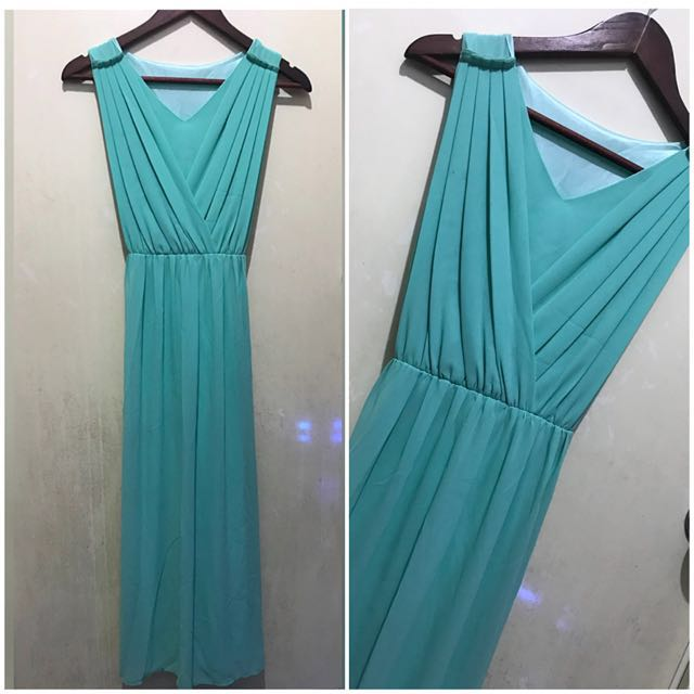 Goddess Mint Drape Dress