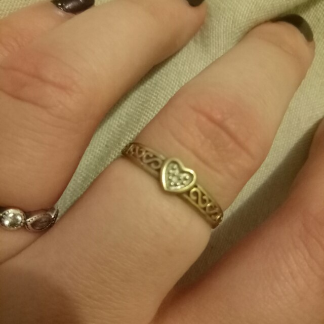 Gold and silver diamond heart ring