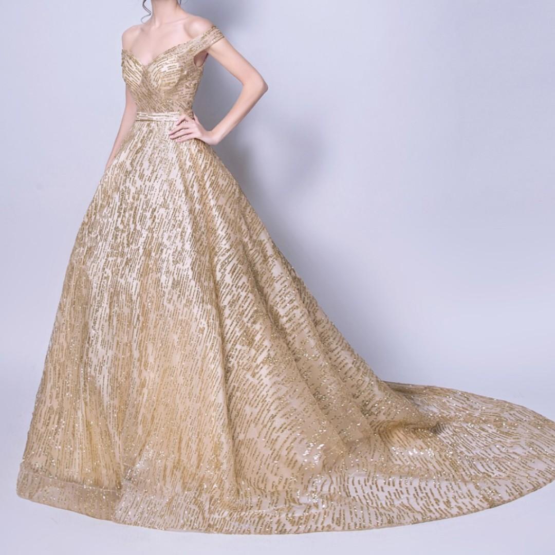 Gold stars golden wedding dress dinner gown, Women\'s Fashion ...