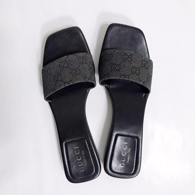Gucci 一字拖鞋 經典緹花
