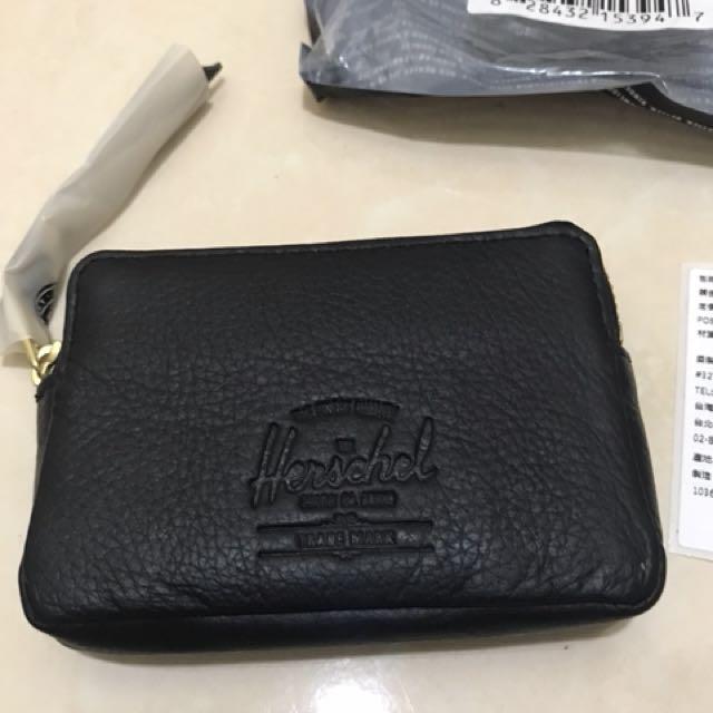 Herschel 加拿大品牌正品零錢包卡片包真皮牛皮黑色零錢包方便小巧