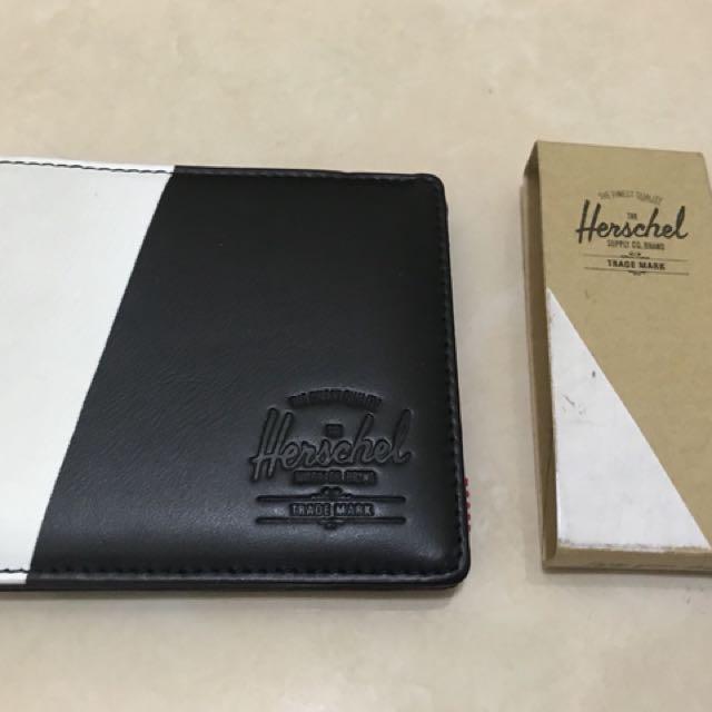 Herschel 加拿大品牌正品全新瑕疵黑白真皮皮夾短夾可放照片男生女生皮夾中性皮夾