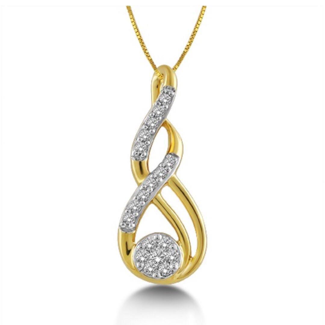 Jewel Corner Womens 18K Yellow Gold Meander Pendants 0.072 Cts Diamond