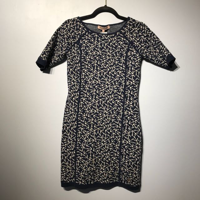 Juicy Couture Navy Sweater Dress Anchor Print - Small