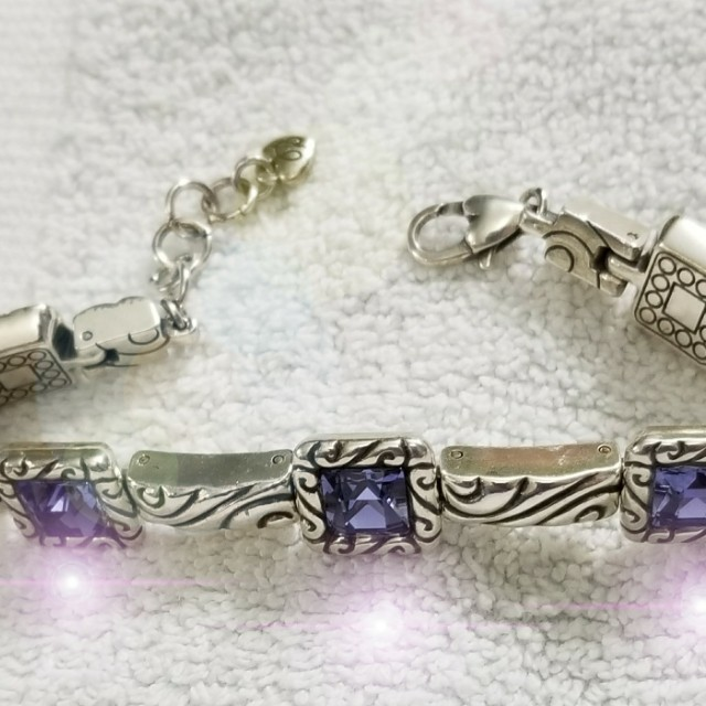 Like New Authentic Brighton Regina Bracelet With Amethyst Color Stones