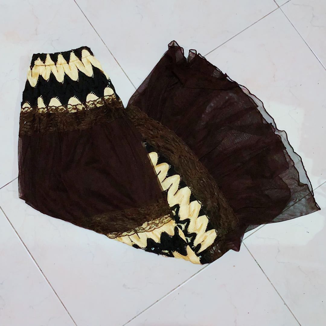 Long Brown (w/ Black lace and Gold lining details) Skirt