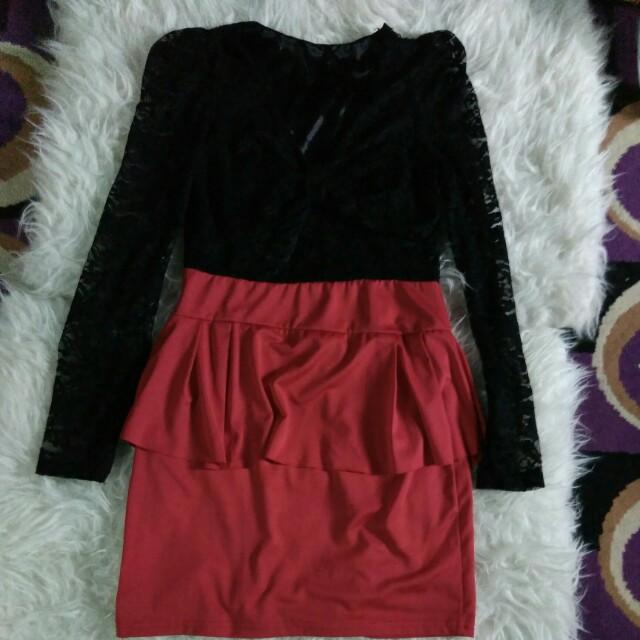 Mini Dress brukat Merah Hitam