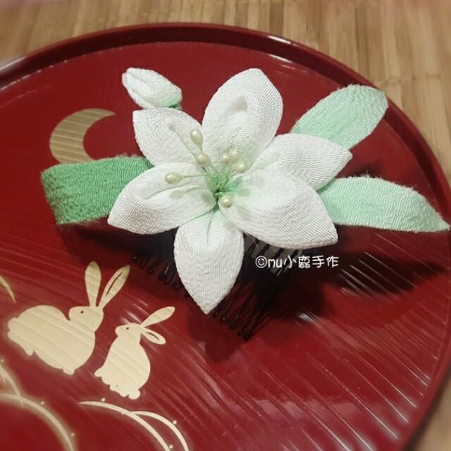 【mu小鹿手作】浴衣/和服 和風頭花髮飾 (水仙/綠)
