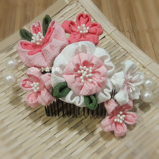 【mu小鹿手作】浴衣/和服 日本縐布縮緬和風布花髮飾 (櫻花/粉)