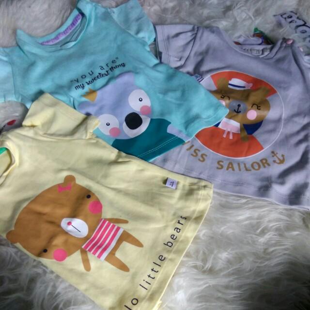 New 3 pcs T shirt Little Owl for Baby Girl