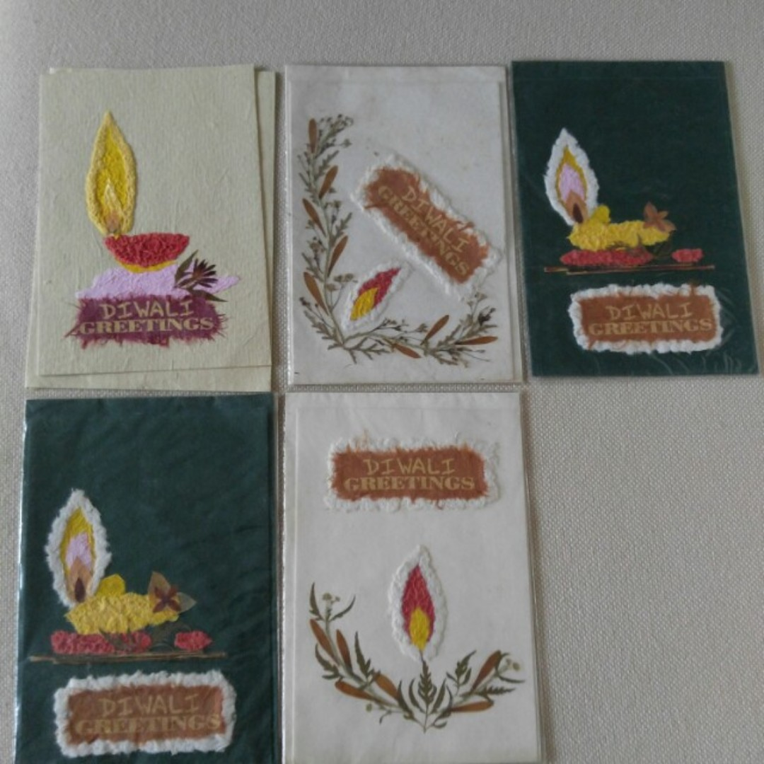 New Diwali Greeting Cards Made With Dry Flowers And Handmade Paper