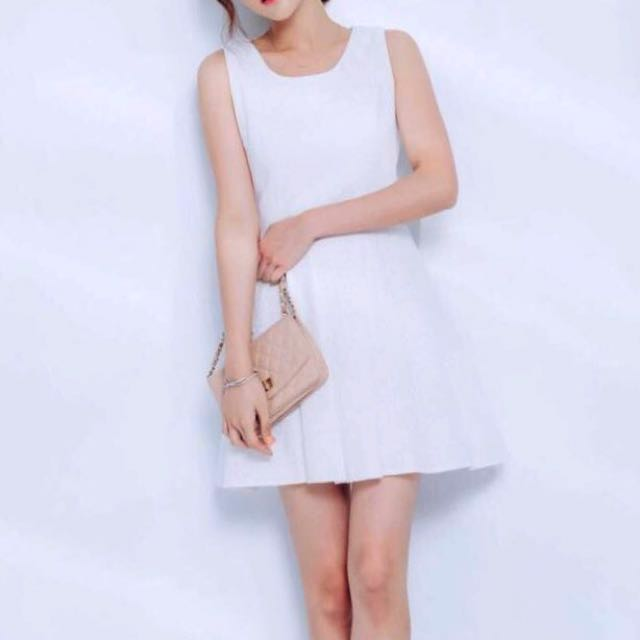 New Mayuki Textured Fit & Flare Dress in White