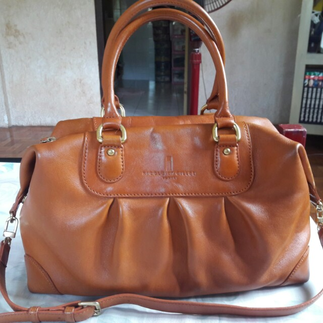 Nicole St Gilles Paris Genuine Leather Two Way Shoulder Crossbody Bag