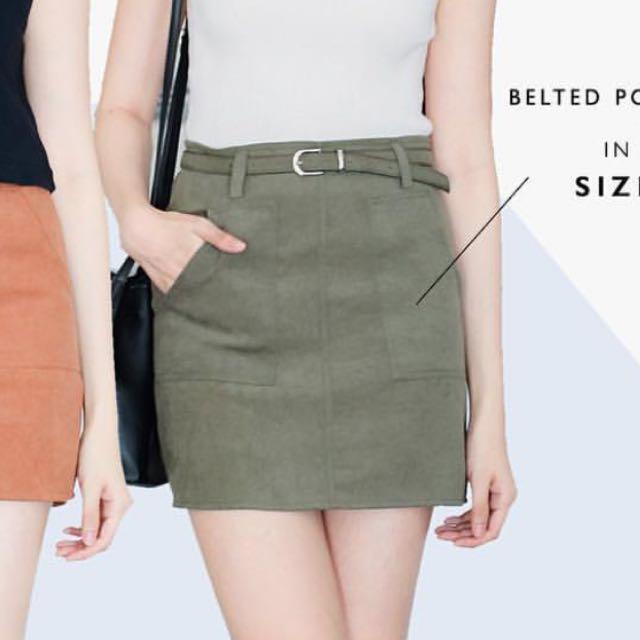 Olive Belted Skirt