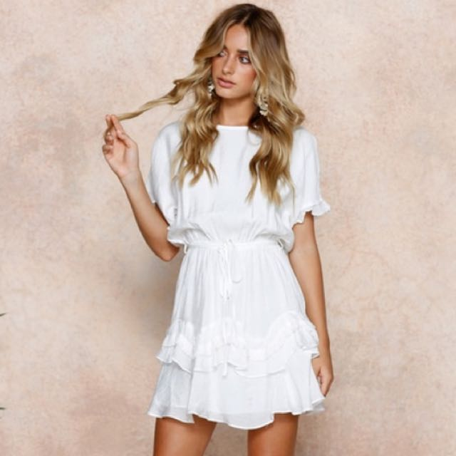 Ophelia White Ruffle Dress