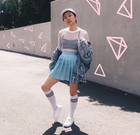 Pastel blue tennis skirt