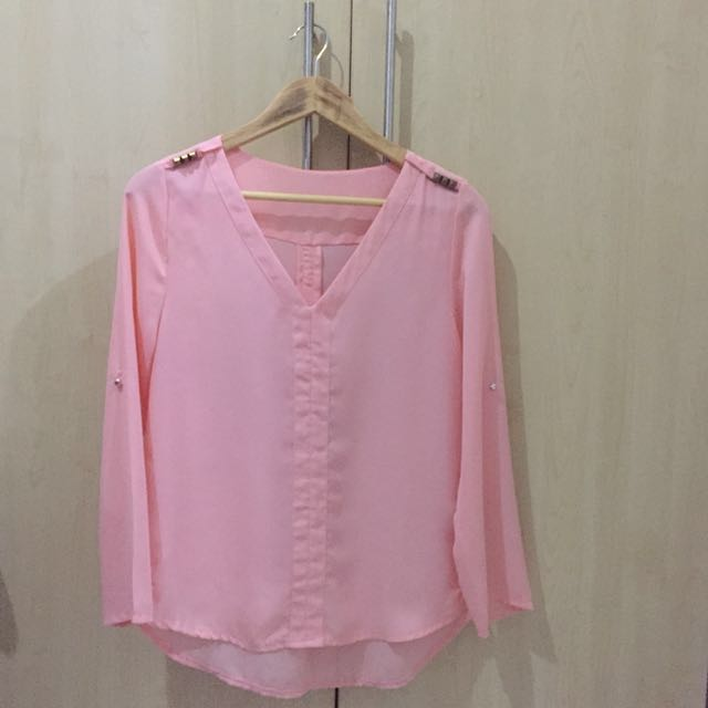 Pink Longsleeved Sheer Top