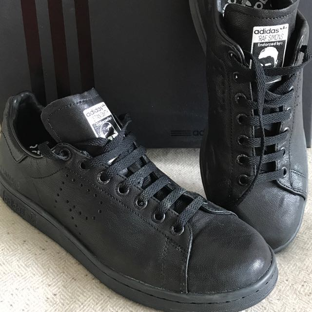 reputable site e126b eabda Raf Simons Stan Smith Aged Black Adidas Originals Brand New Never Worn Uk 9  Us 9.5