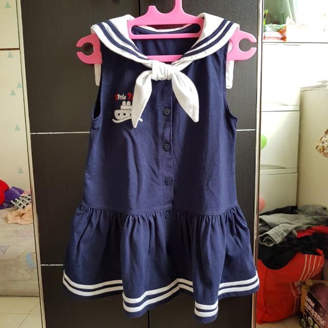 Sailor Navy Dress Baby (Cat socks included)