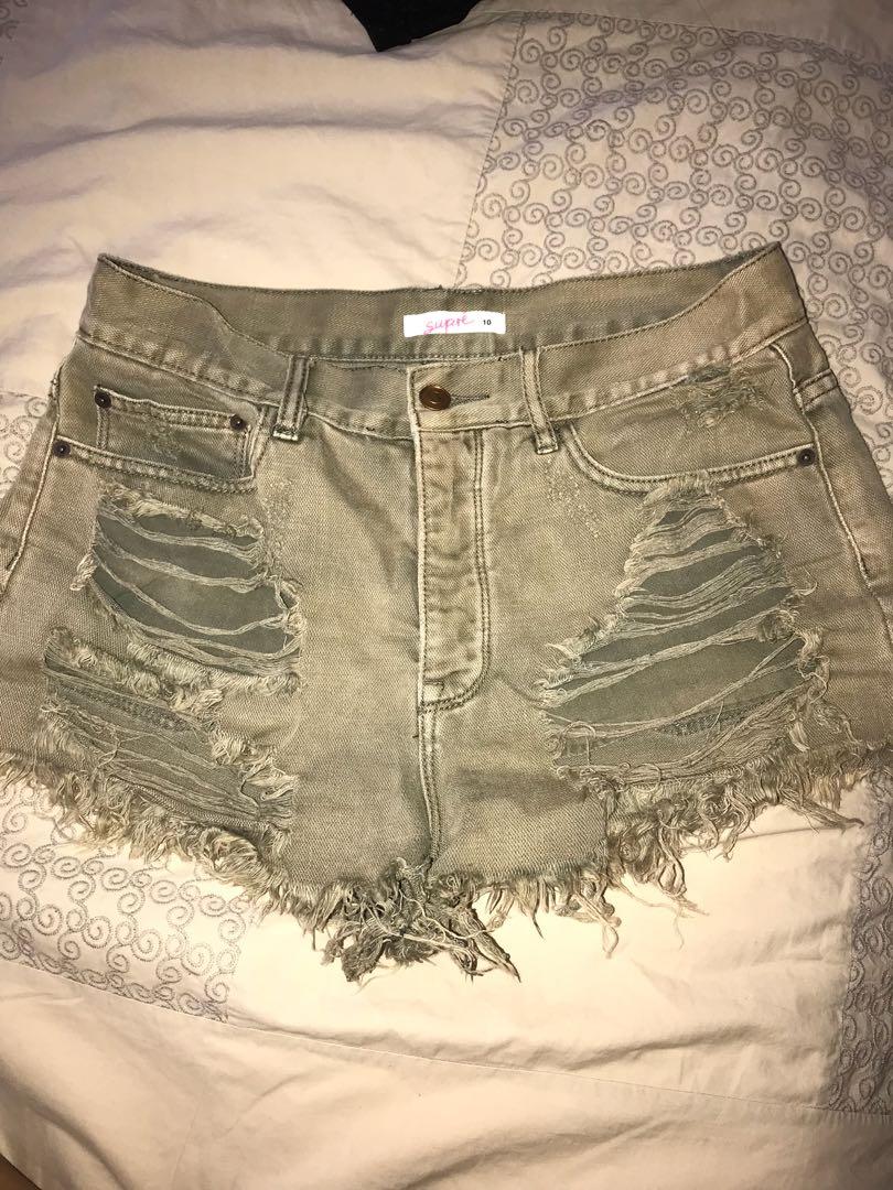 Supre Khaki ripper shorts